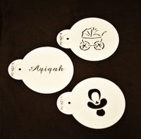 Aqiqah Islamic themed coffee stencils. Set of 3.