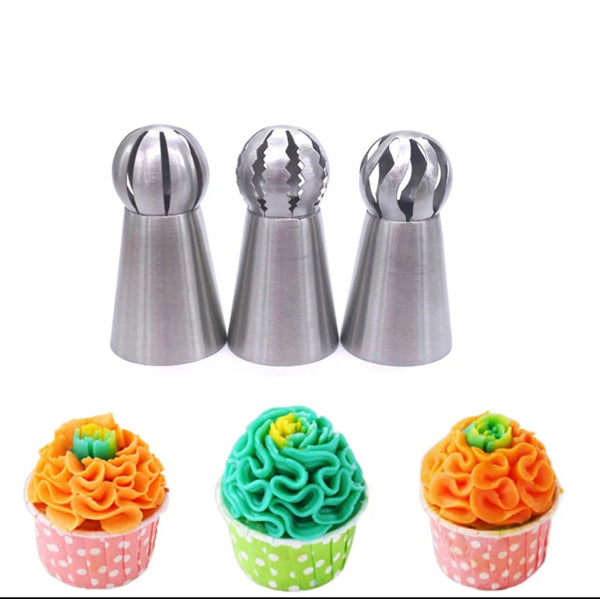 Set of 3 ball piping nozzles, for cake and other desserts. Create pretty ruffles and frills.