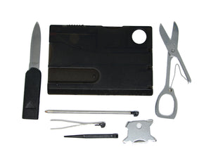 Credit card sized 9 in 1 multitool. Swiss inspired. Available in various colours
