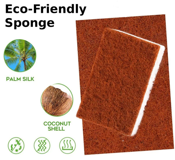 Eco-Friendly Sponge. Natural fibers, biodegradable. Pack of 2.