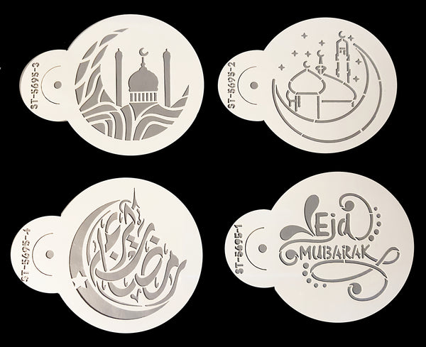 Eid Mubarak (with pretty Masjid design) Coffee Stencil Set of 4. New Design!