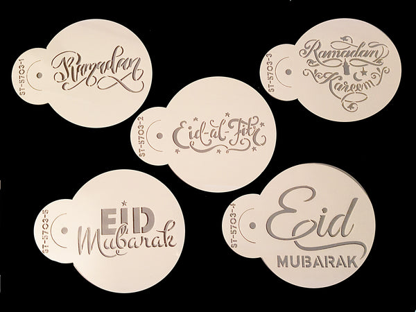Ramadan and Eid ul Fitr Mubarak Coffee Stencil Set of 5. New Design!
