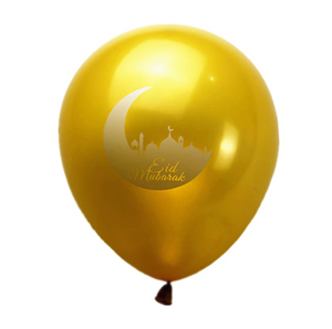 Set of 5 Eid Mubarak Balloons. Available in Gold or Silver. Various designs.