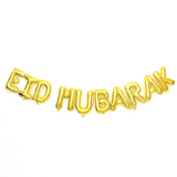 Eid Mubarak Letter Balloons. In Gold or Silver.