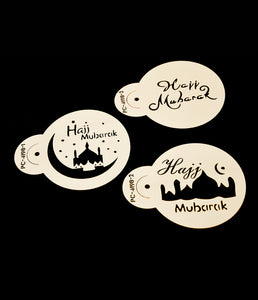 Hajj Mubarak Coffee Stencil Set of 3. Islamic themed treat decor.