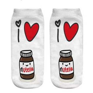 """I ♥ Nutella"" socks. Perfect socks for anyone who loves Nutella!"
