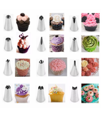 Cake decorating piping tip set. 12+ items.