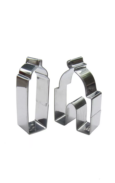 Islamic themed biscuit cutter. Minaret and Mosque. Stainless Steel. Set of 2.
