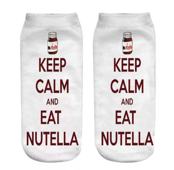 Keep Calm and Eat Nutella.  Perfect socks for anyone who loves Nutella!