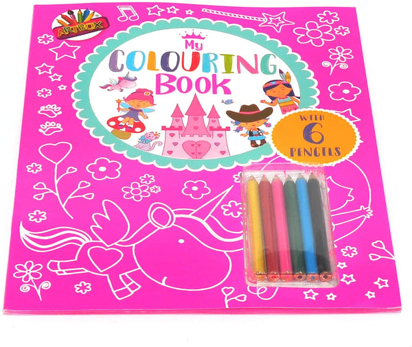 Copy of My Colouring Book. With 6 pencil crayons. Pink.