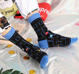 Pac-Man patterned socks. One Size. Mens.