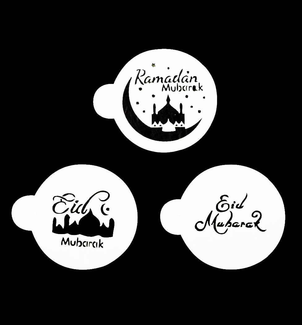 Set of 3 Ramadan and Eid Mubarak Stencils. For drinks, cakes, biscuits