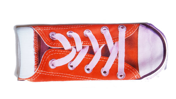 "Red canvas ""Converse"" shoe style socks.. Unisex 3D patterned socks."