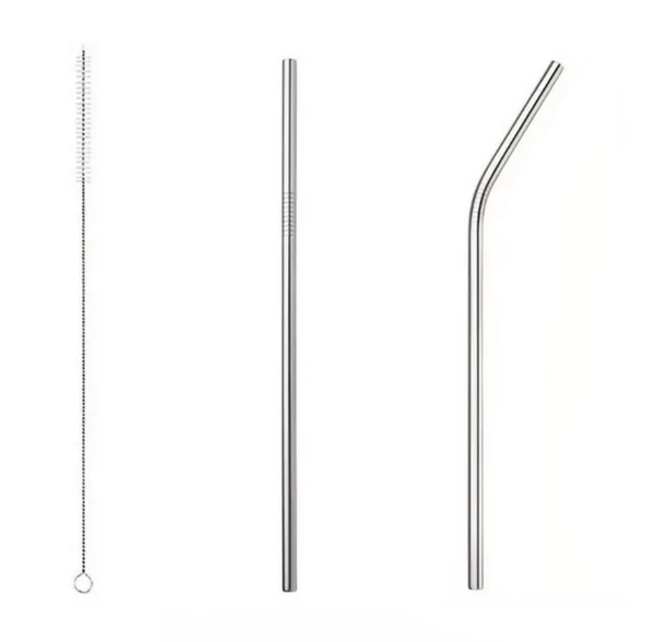 Stainless Steel Reusable Straws. Set of 3.