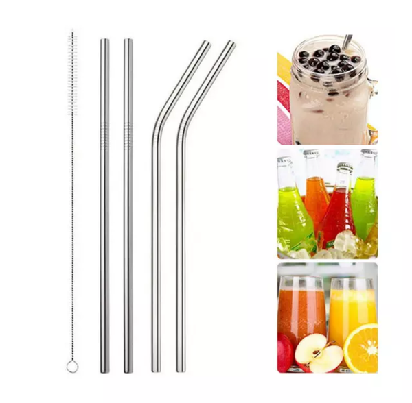 Stainless Steel Reusable Straws. Set of 5.