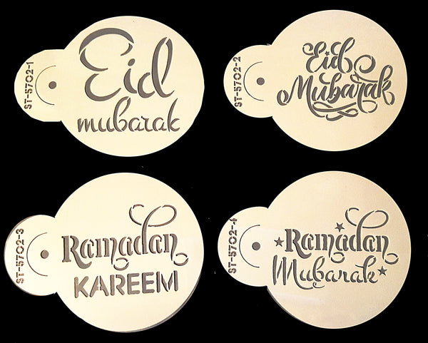 Ramadan/Eid Mubarak/Kareem (calligraphy design) Coffee Stencil Set of 4. New Design!
