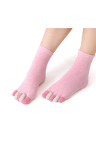 Multicoloured ladies pink toe socks