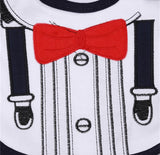 Tuxedo Baby Bib with a Red Bow.