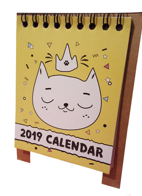 2019 yellow cartoon cat desk calendar.