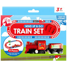 Toy train set of 9 pieces. Wind up, no batteries needed for hours of fun.