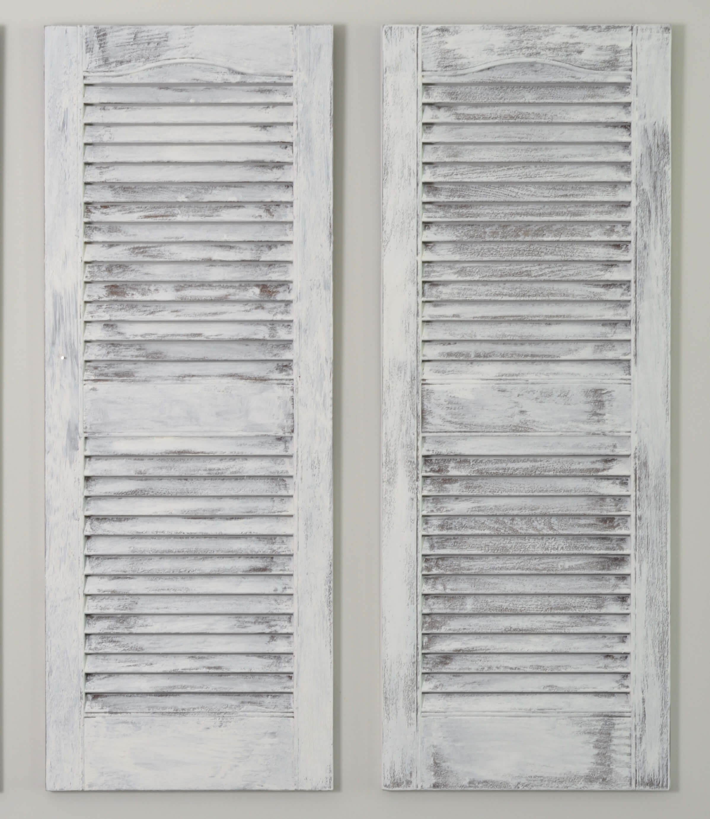 Pair Of Decorative Interior Shutters Distressed White
