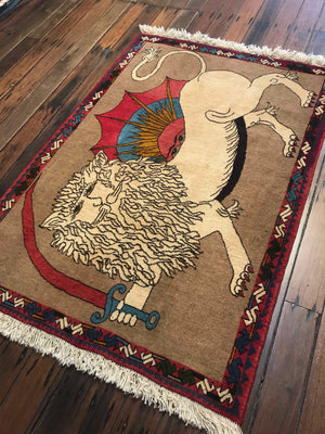 Lion Rug of Fars 147x102cms