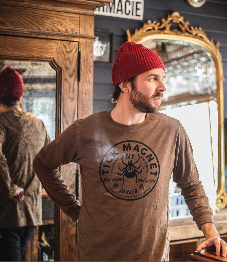 TICK MAGNET LONG SLEEVE TEE - BROWN HEATHER