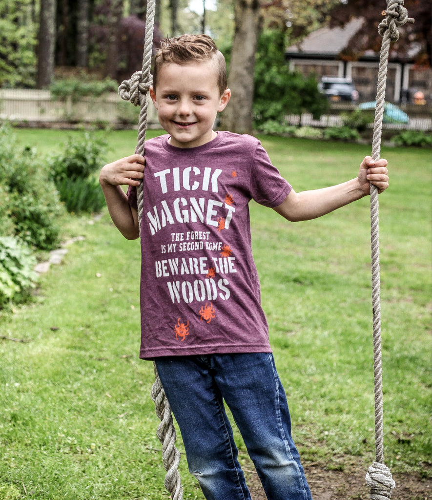 KIDS TICK MAGNET TEE - MAROON HEATHER