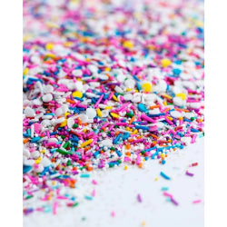 Vegan sprinkles! BIRTHDAY PARTY Sprinkle Medley is a one of a kind mix of some of the most birthday-ish vegan sprinkles in the universe: rainbow nonpareils, crunchy rainbow jimmies (strands), confetti and tiny edible silver stars.