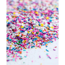 Load image into Gallery viewer, Vegan sprinkles! BIRTHDAY PARTY Sprinkle Medley is a one of a kind mix of some of the most birthday-ish vegan sprinkles in the universe: rainbow nonpareils, crunchy rainbow jimmies (strands), confetti and tiny edible silver stars.