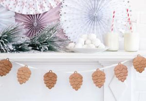 Wood Banner with pinecones and ribbon