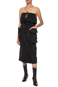 Dries Van Noten Black Gathers Dress