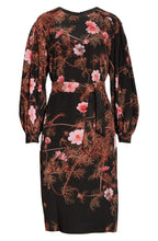 Load image into Gallery viewer, Dries Van Noten Floral Print Long Sleeve Silk Dress