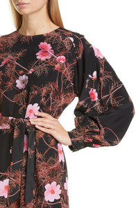 Dries Van Noten Floral Print Long Sleeve Silk Dress