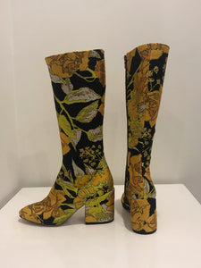Dries Van Noten Gold  block hill Knee high Boots