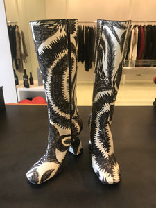 Dries Van Noten Abstract feather-print fabric Knee High Boots.