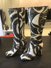 Load image into Gallery viewer, Dries Van Noten Abstract feather-print fabric Knee High Boots.