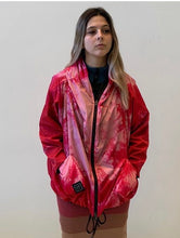 Load image into Gallery viewer, Kimonorain  shibori print  hooded rain  bomber in Pink .