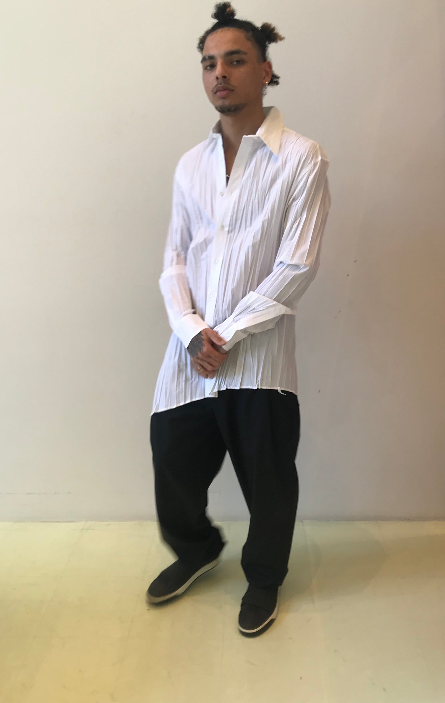 Sharon Wauchob  unisex  foiled asymmetrical white  pleated shirt.