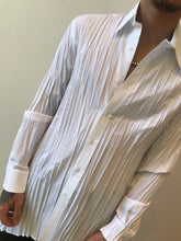 Load image into Gallery viewer, Sharon Wauchob  unisex  foiled asymmetrical white  pleated shirt.