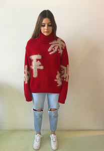 MS MIN Red roll neck lucky red jumper