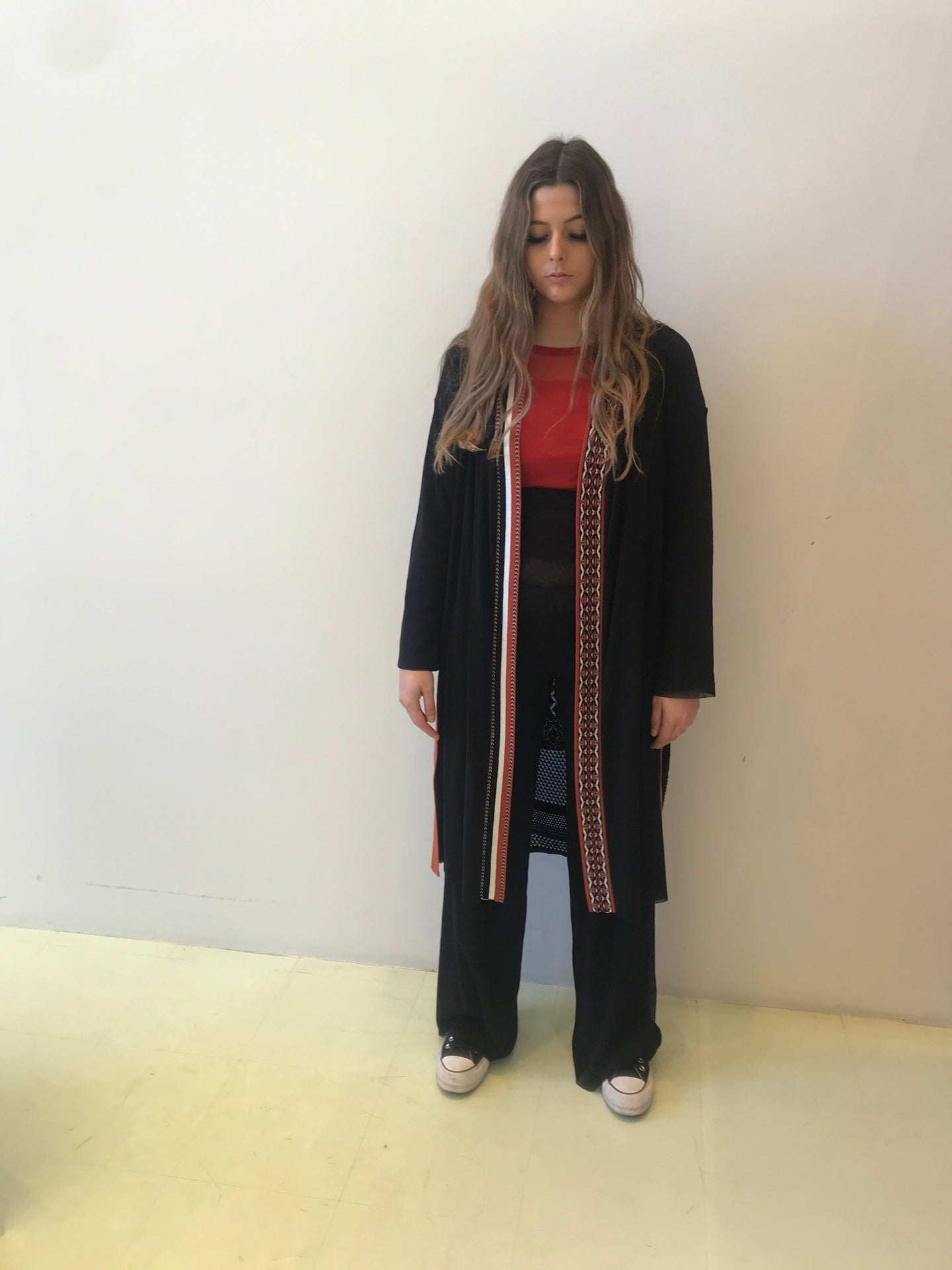 Fuzzi  long line woven knit Cardigan