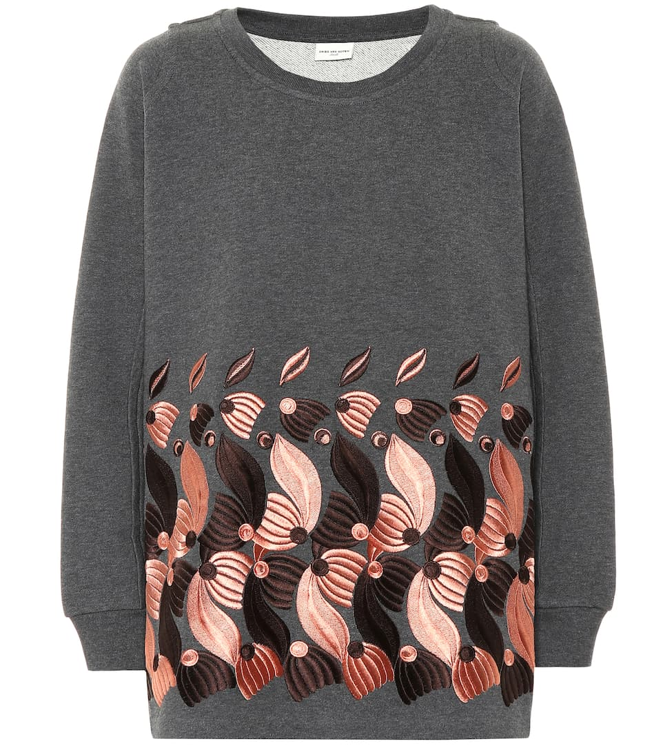 Dries Van Noten Embroidered cotton-jersey sweater