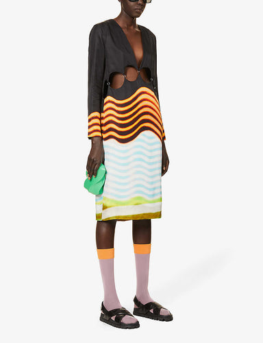 Dries Van Noten Striped cut-out crepe midi dress