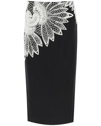 Dries van noten salby embroidered cotton skirt