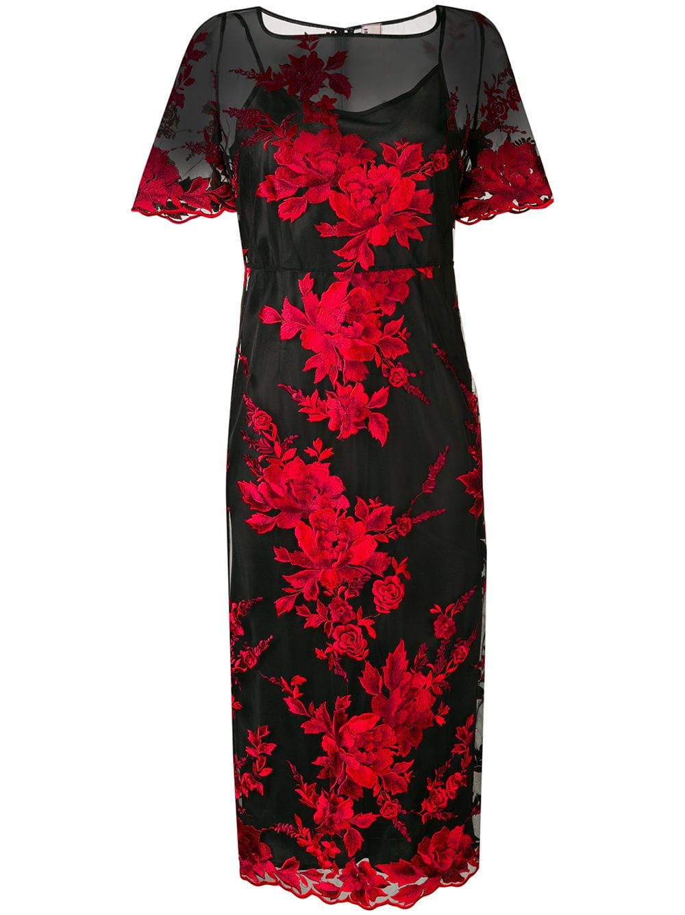 ANTONIO MARRAS Floral Embroidered Sheer Black Dress