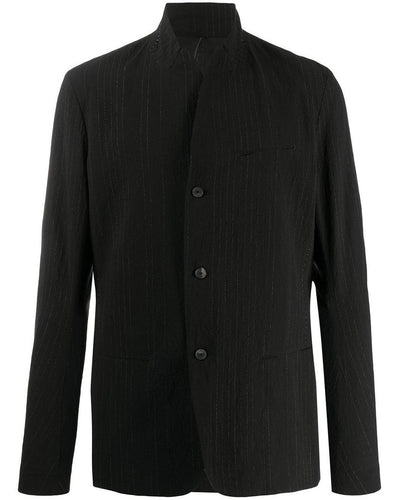 Masnada Men's Black Stripe Detail wool cotton blend Blazer