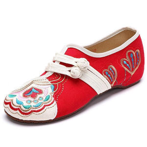 Vintage Chinese Embroidered Flower Mary Janes Buckle Casual Flat Loafers