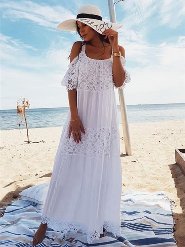 Spaghetti-strap Lace Hollow Solid Beach Swimwear Maxi Dresses
