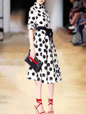 Slim Black And White Dot Long Dress With Big Swing